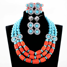 Blue and Coral Necklace Bracelet Earring Set Fashionable Costume Jewelry Sets Free Shipping WX010