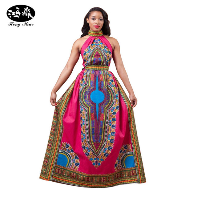 22d49485f5da2 2018 Traditional African Clothing Women maxi Dress women Bazin Riche red  Dashiki dress off shoulder halter long vintage dress