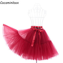 Cocominibox Women's 5 Layers Tulle Skirt Fluffy Pettiskirt Flare Wedding Bridal Retro Ball Gowns
