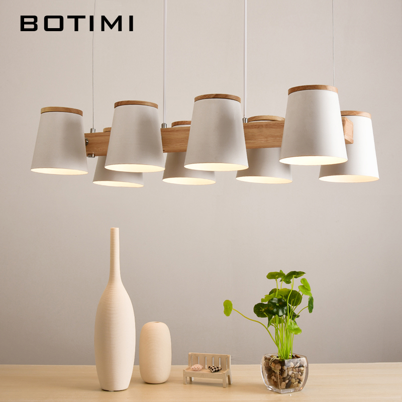 BOTIMI Adjustable Pendant Lights E27 Wooden For Dining Room Modern White Cord Hanging Lamp With Metal Lampshades