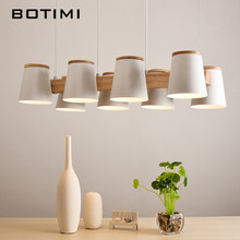 Botimi Adjustable Pendant Lights E27 Wooden Dining Light With Metal Lampshade Lustres Modern Hanging Lamp Suspension Lighting(China)