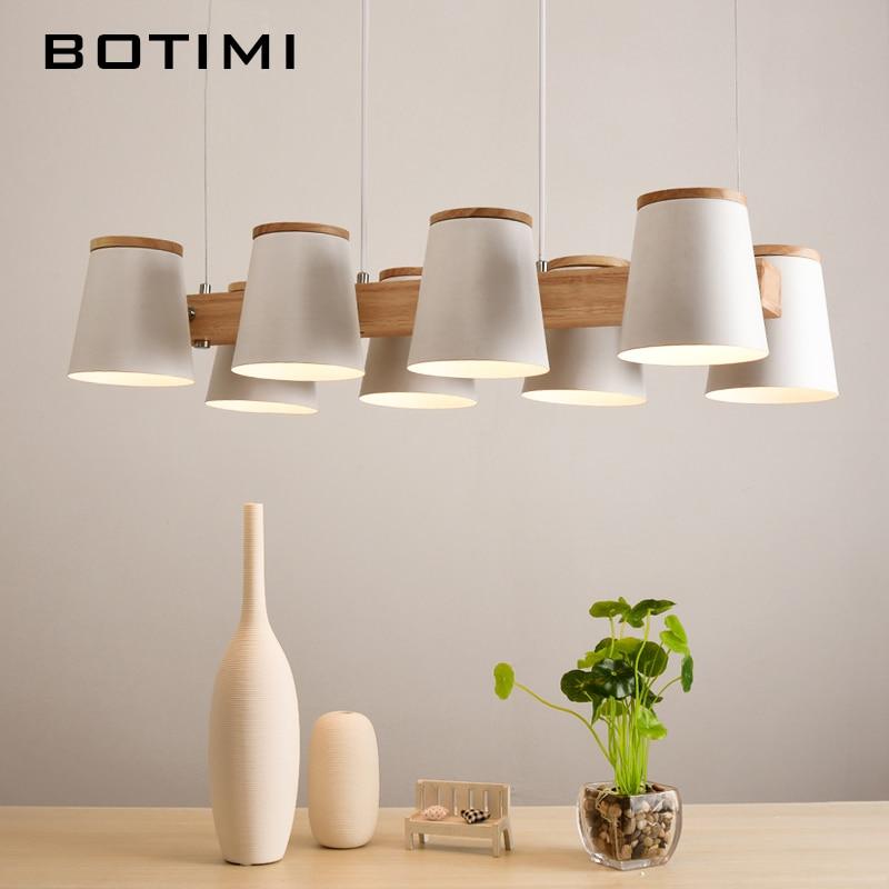 Botimi ajustable colgante luces E27 comedor de madera con Metal ...