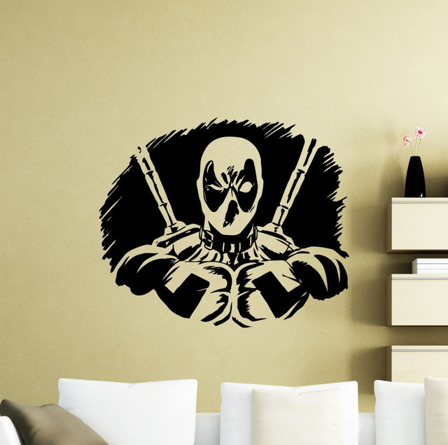 Wall Decals Quotes Bedroom Vinilos Paredes Deadpool Wall Decal - Superhero vinyl wall decals
