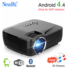 Newpal Mini Portable Projector 1200Lumen LED Home Theater With Android 4.4 WIFI Bluetooth Support Miracast Airplay AC3 Proyector