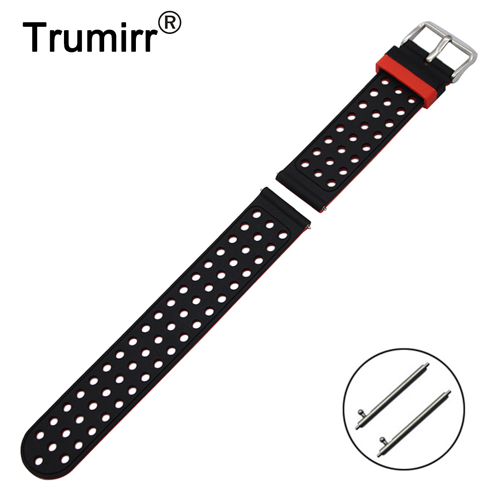 20mm Rubber Silicon Watchband for Samsung Gear S2 Classic (SM-R732/R735) Moto 360 2 42mm Men Quick Release Bracelet Strap Belt for samsung gear s2 classic black white ceramic bracelet quality watchband 20mm butterfly clasp