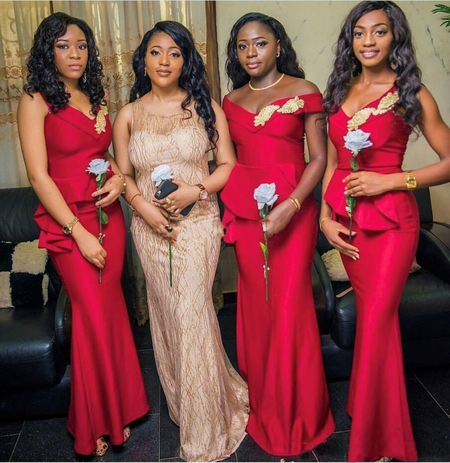 Cheap African Off Shoulder Red Satin   Bridesmaid     Dresses   V Neck Floor Length Plus Size With Gold Appliques Wedding Guest   Dress