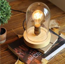 New 2015 Vintage Table Lamps Wood Personalized Retro Desk Lamp With Glass Shade For Beside Home Decor For Bedroom Living Room(China)