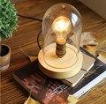 Novo 2015 Do Vintage de Madeira Candeeiros De Mesa Personalizado Lâmpada de Mesa Retro com Sombra De Vidro Para estar Ao Lado de Casa Decoração Para Quarto sala de Estar quarto