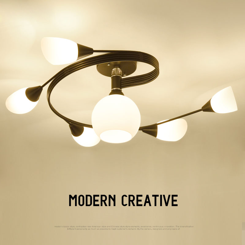 Modern Creative Swivel Shape Black Iron Painted Ceiling Light with Frosted Glass LED Lampshade for Hallway Living Room FoyerModern Creative Swivel Shape Black Iron Painted Ceiling Light with Frosted Glass LED Lampshade for Hallway Living Room Foyer