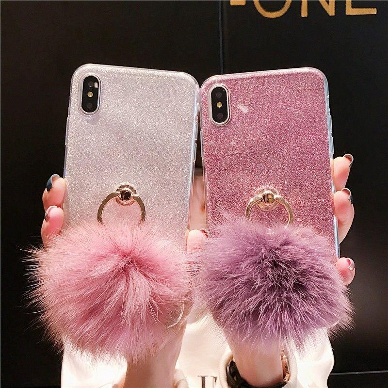 Glitter Cas Pour Samsung Galaxy S9 Plus S8 S7 Bord S6 S5 S4 Mini I9192 SUR 7 5 i9082 G7106 g360 C9 Pro C8 J7 C7 C5 Balle En Peluche Sac