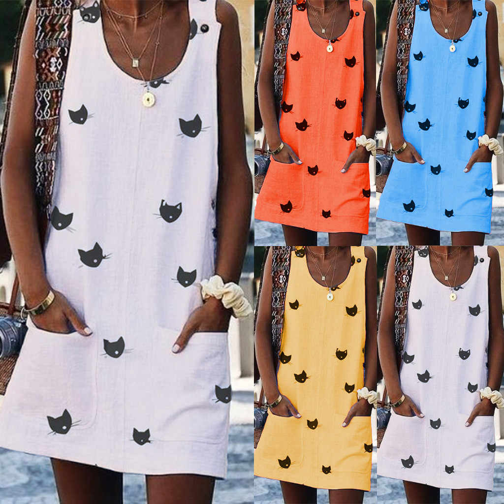 Hot Sale Cat Print Above Knee Dress Women Summer Sleeveles O Neck Print Dresses Pocket Casual Mini Dress vestidos verano 2019 #C