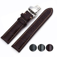 Special Offer Genuine Leather Watchband With Butterfly Buckle Calfskin Watch Straps With Folding Clasps