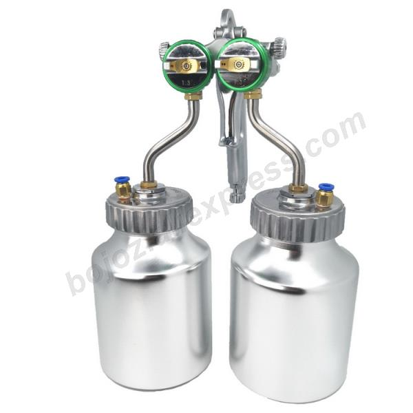 Image 4 - Double headed  1.3mm  spray gun pressure /siphon feed spray paint  chrome painting dual head Air pneumatic pressure sprayer-in Spray Guns from Tools on