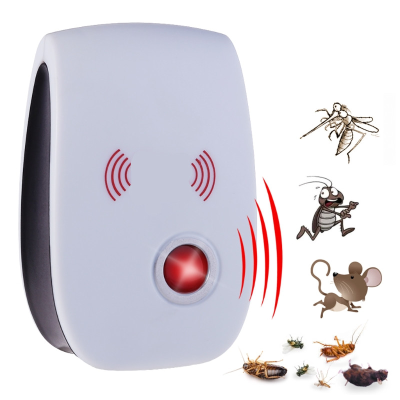 Elektronisk Ultrasonic Mosquito Repeller Mouse Pest Repeller EU Plug