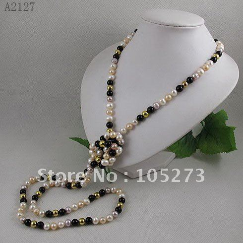 Vente en gros AA 7-8 MM mélange collier de perles d'eau douce 8mm GP perles d'or 55 pouces long collier de perles livraison gratuite offre spéciale A2127