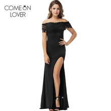 1743b3919 Comeonlover sexy slit Club party robe longue Femme ETE Slash Neck LACE  vestidos de verano barato negro 2XL hombro vestido VL1070