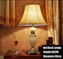 luxury Natural jade zinc alloy base led desk lamp Ceramic Table Lamp Modern Fabric Desk Lamp With Led Bulb light Free Shipping