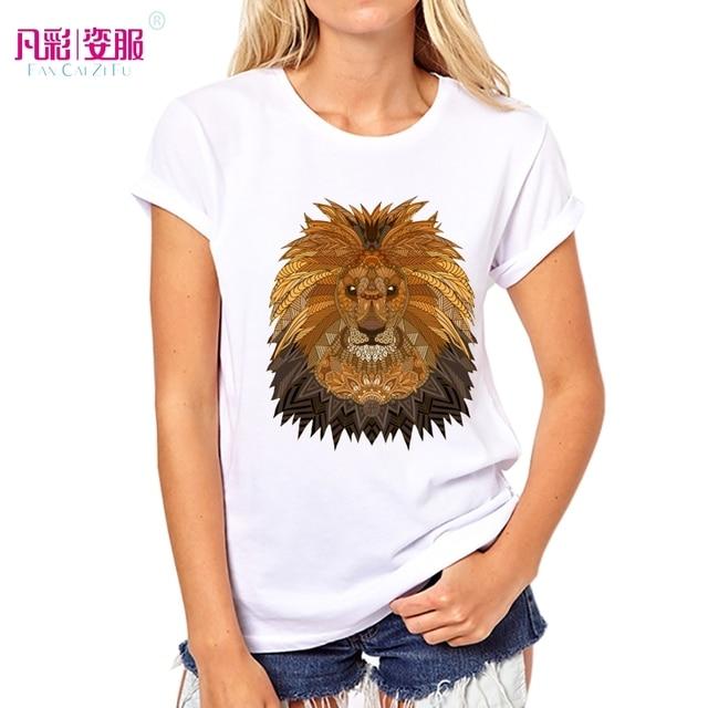 T imprimé shirt le animal Design lion Tops Géométrique roi Femmes D'été vintage 2017 x0awvAOqg