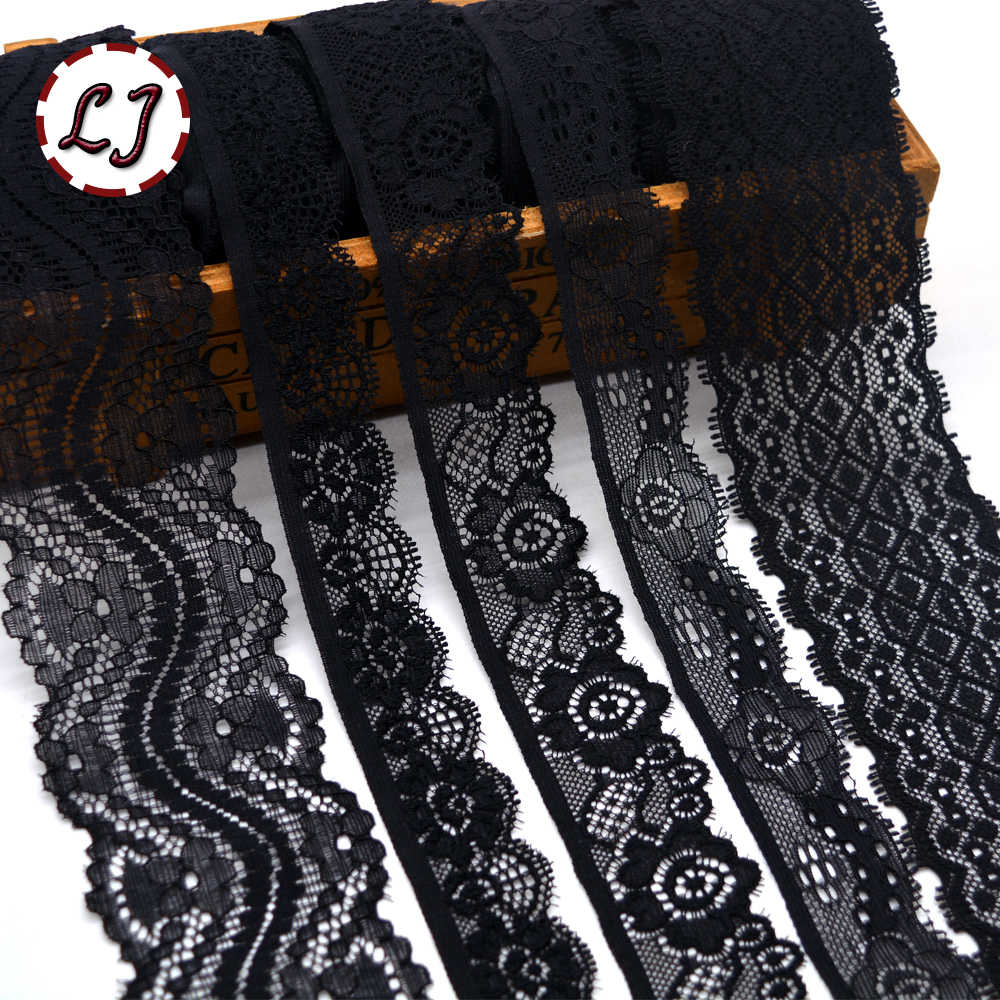 New hot sale 5yd/lot High Quality black Elastic Lace Trim ribbon For Sewing crafts decoration lace handmade accessories DIY