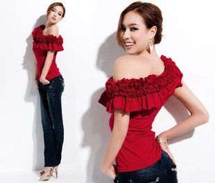 Korea style Elegant cotton off-shoulder shirt women blouse tops for women free shopping M8907-1 red (4 colors)