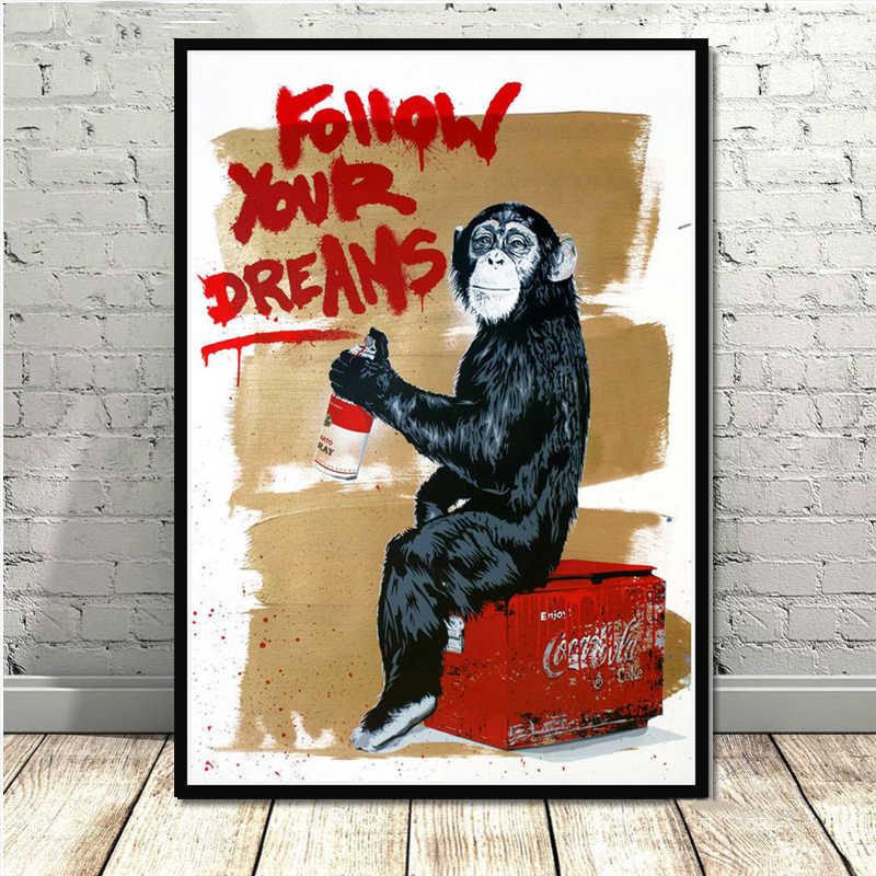 Плакаты и печать Современная живопись картина Улица граффити коллаж обезьяна плакат стены художественное полотно живопись для комнаты домашний декор
