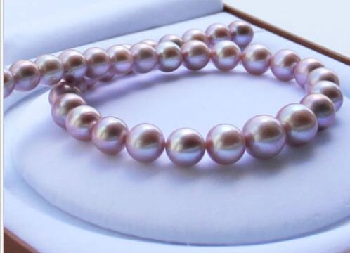 Élégant 10-11mm rond mer du sud argent gris collier de perles 17.5inch14
