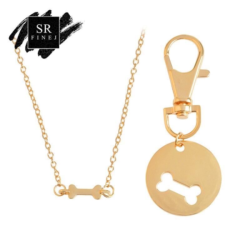 SR:FINEJ Hot Sale Fashion Pet Pendant Chain Quality Male Car Dog Bone Keychain Laser Tag Key gift Jewelry For Women Accessories