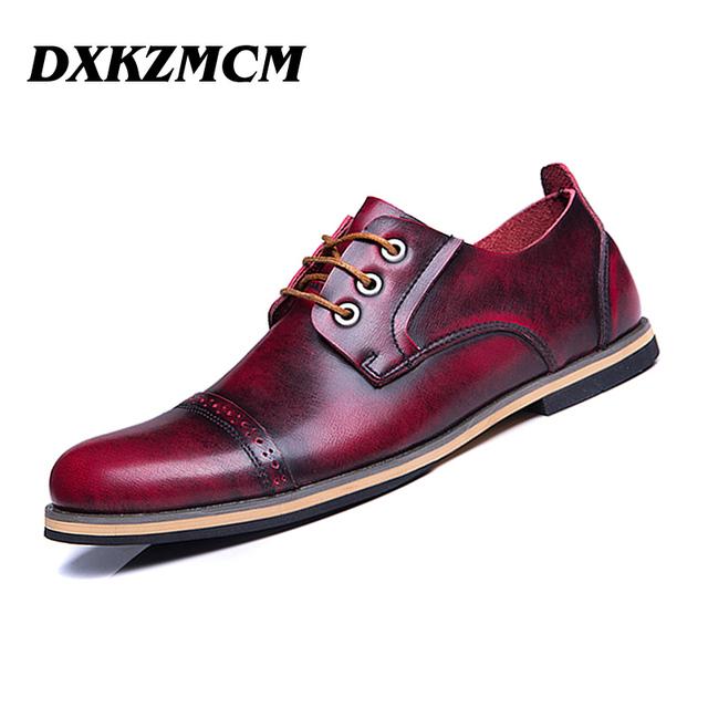 DXKZMCM Artesanais Genuínos Homens De Couro Botas de Outono, Homens primavera botas de alta Qualidade, Retro ankle martin botas para homens