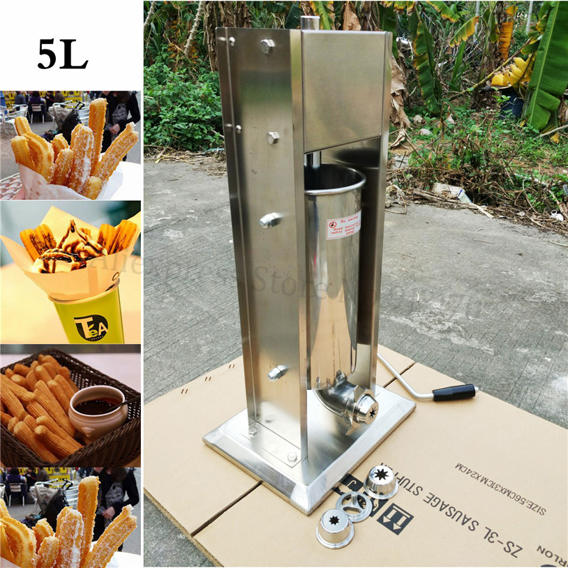 Commercial 5L Stainless Steel Manual Sausage Filler Salami Stuffer Hand Operation Churro Making Machine Churro Extruder