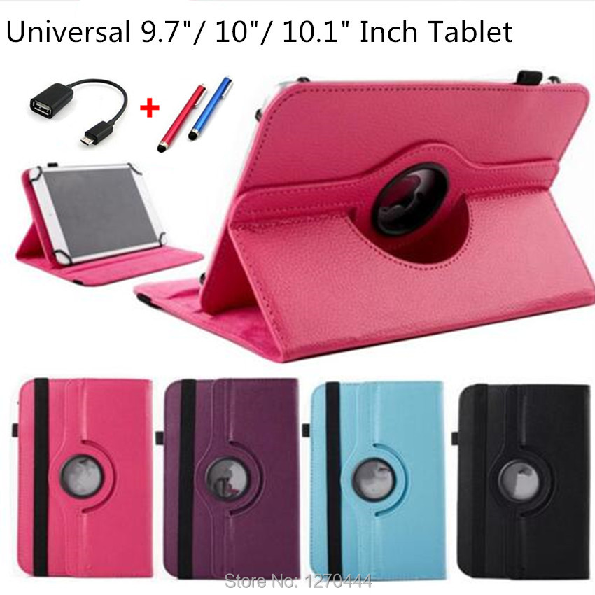 360 Rotating Universal PU Leather Stand Cover For 10 inch Android Tablet Universal 9.7/10/ 10.1/10.2 inch Tablet Case+pen+OTG pu leather case cover for supra m141 10 1 inch universal tablet cases 10 inch android tablet pc pad center film pen kf492a