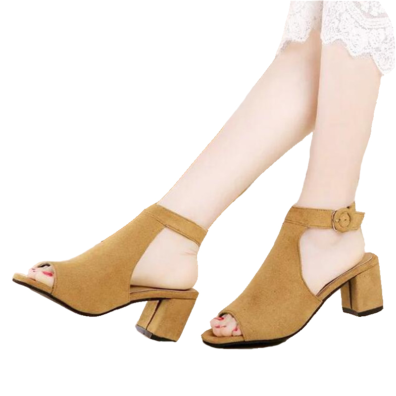 ZHENZHOU shoes woman 2019 summer Flock brand OL high heeled woman sandals frosted with fish mouth ladies sexy sandals in High Heels from Shoes