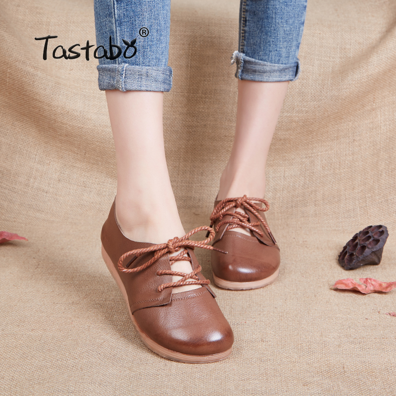 Tastabo Genuine Leather Flat Shoe 2019 Women Shoes New Arrival Work Driving Shoes Women Flats Comfortable