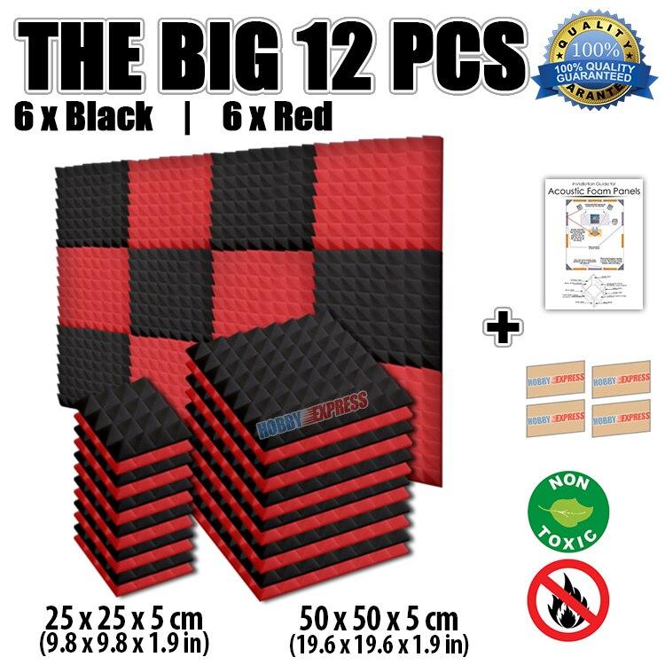 Arrowzoom 12 Pcs Black And Red Pyramid Tiles Acoustic Foam Studio Sound Absorption Panel 19 6 1 9 8 Kk1034