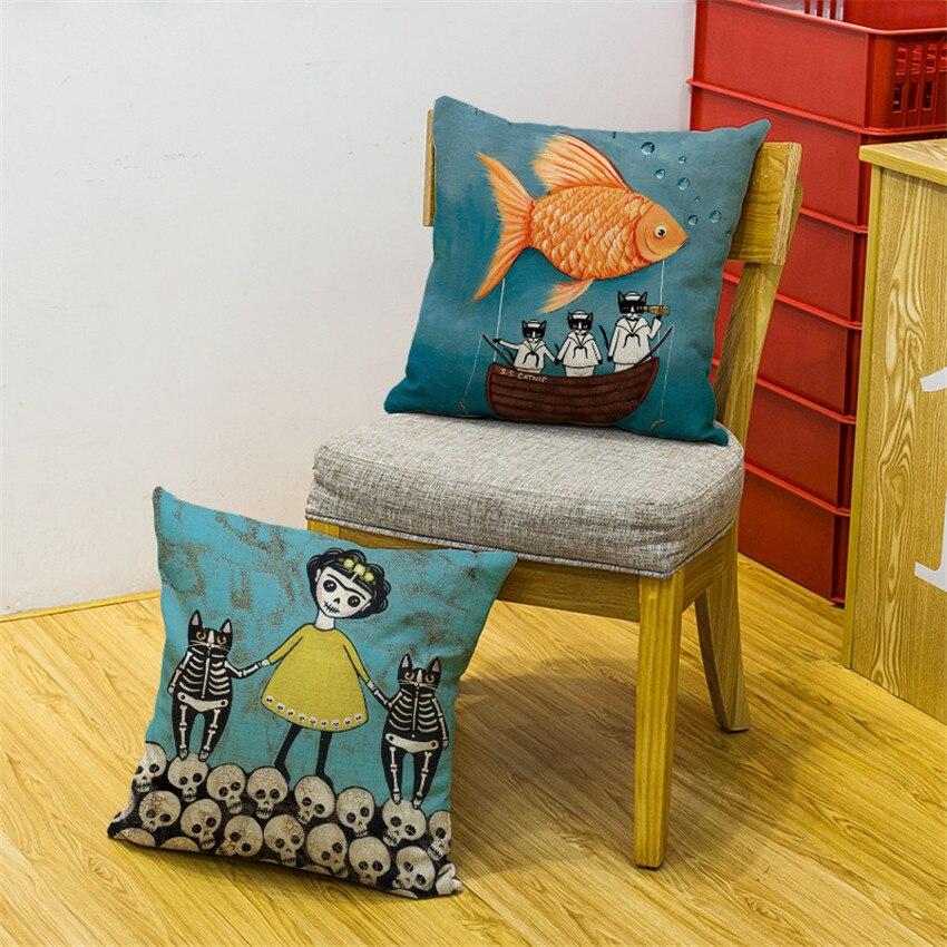 New Design font b Home b font Decorative Throw Pillow Case Creative Cute Cat Cushion Cover