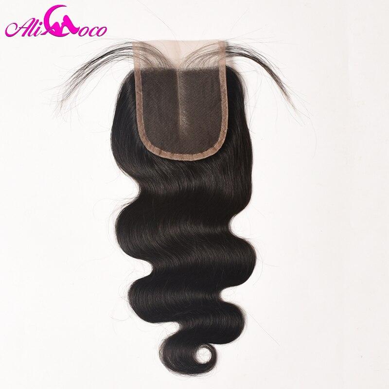 Ali Coco Brazilian Body Wave Lace Closure 4X4 Middle Part Swiss Lace 1pc Non Remy Hair