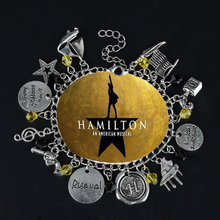 Music Hamilton Broadway Charm Bracelet Musical Rise Up Star Gun Symbol Hand Stamped Bangle Accessoreis