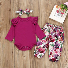 Get more info on the princess girl clothes set fly sleeve romper +floral pants +headband clothes autumn wear 0-18m