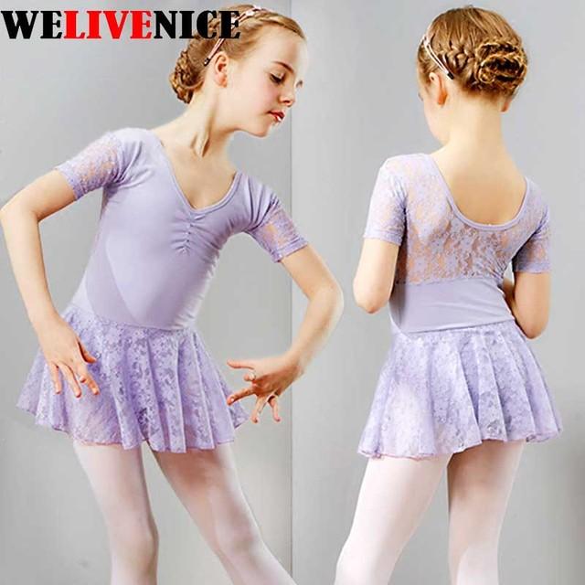 Кружевное балетное платье для девочек, черное гимнастическое трико, хлопковое балетное трико, танцевальная одежда для детей #6292