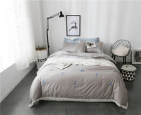 Luxury grey purple Duvet Cover Set Quality King Queen Size Bed Linen/Cover 100% Cotton Bedding Set with Feathers Bed in a bag