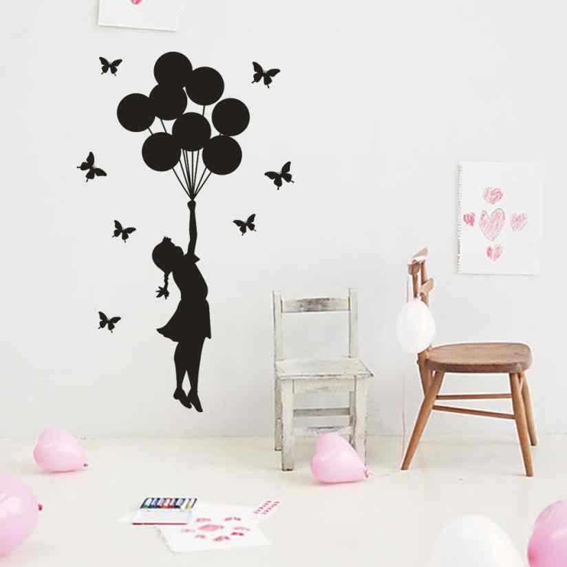 Rumah Dekor Balon Perempuan Dapat Dilepaskan Seni Vinil Mural Rumah Dekorasi Kamar Dinding Stiker Dinding Stiker Rumah Deco Cermin JU27