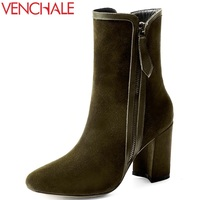 VENCHALE Woman Fashion Boots Real Genuine Leather Cow Suede High Heel Black Duck Green Side Zipper