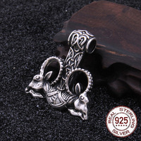 2018 стерлингового серебра 925 Викинг кулон с козой цепочки и ожерелья в подарок с действительно кожаный шнур