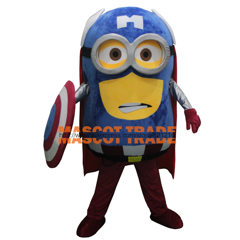 Free Shiping New Special Captain America Custom Made Adult Minion Costume