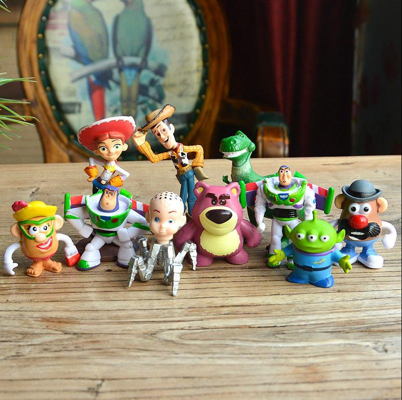 Toy Story Buzz Lighter Woody Jessie Figures Dinosaur Lotso Toy Cake Topper 10pcs