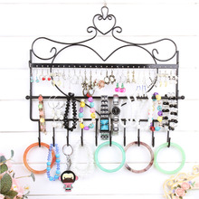 1Pc Jewelry display earring storage rack jewelry organizer iron storage shelving hanger for keys necklace display shelf
