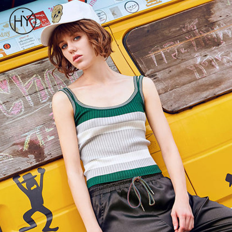 Acinth Girl Hy Knitted Women Tops Tank Striped Slim Sleeveless Crop Top Women Summer Casual Spaghetti Strap Female Tee Vest
