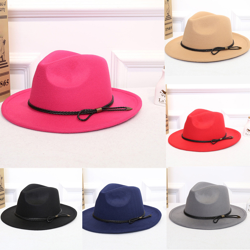 e0b300982ca Fashion Wide Brimmed Hat Solid Color Casual Women's Crushable Wool Felt  Outback Hat Panama Hat Wide Brim with Belt fedora Cap #C-in Women's Fedoras  from ...
