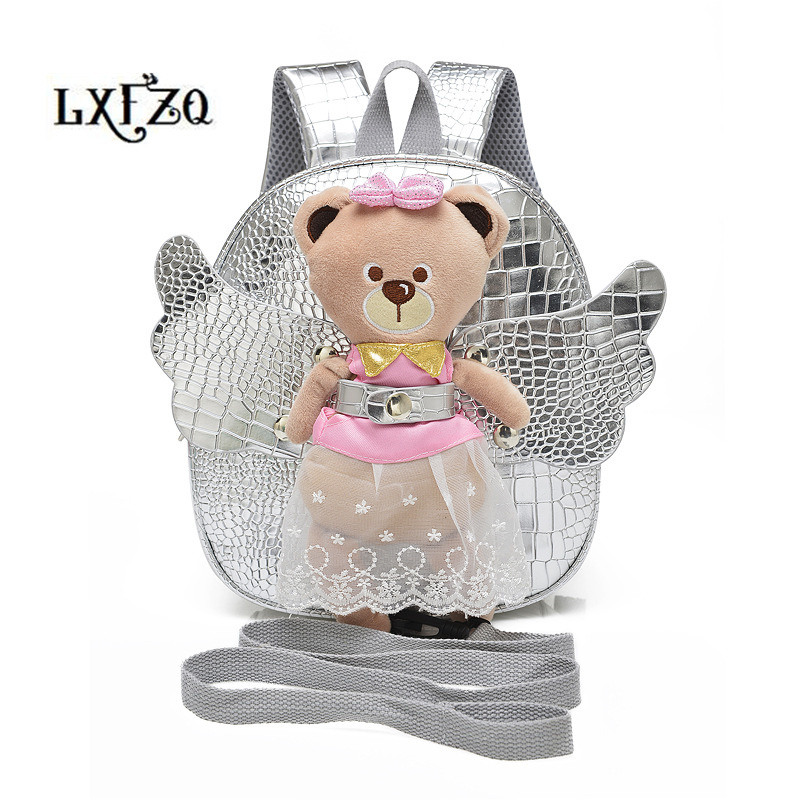 child bag mochila infantil Cute Angel Bear Anti-lost School Bags For Girls Leather PU backpack kids fashion Children's backpack рюкзак child backpack 1 3 pu