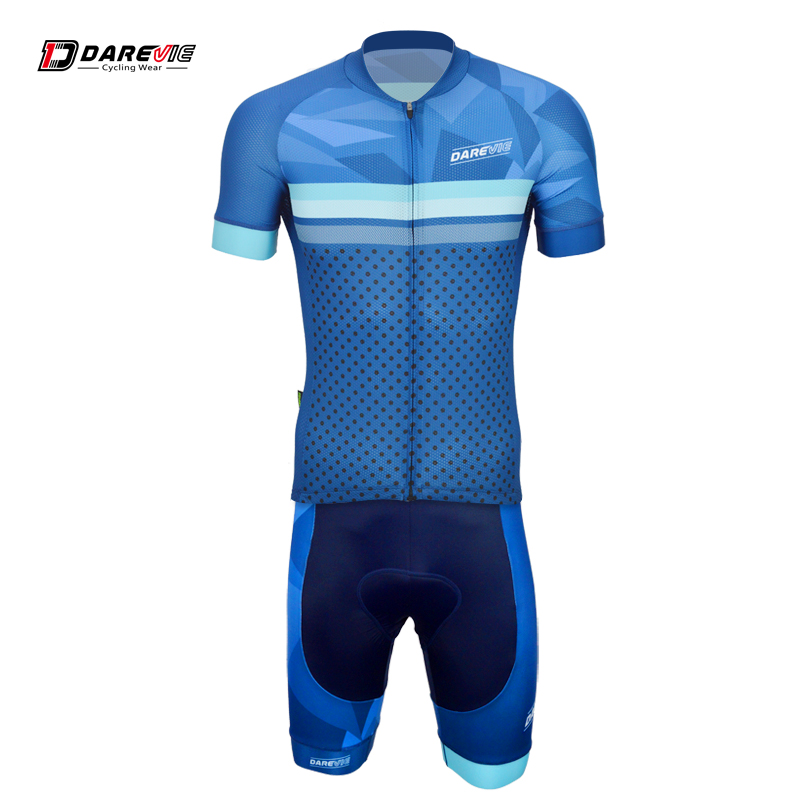 Darevie training blue summer breathable dry fit cycling wear jersey bib shorts suit цена