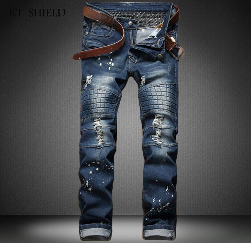 Ripped denim jeans men fashion design slim fit elastic Hip Hop pants zipper runway Biker vaqueros hombre cotton casual trousers 2017 ripped straight jeans men slim fit zipper jeans men s hole denim fabric hip hop skinny cotton white blick pants casual mens